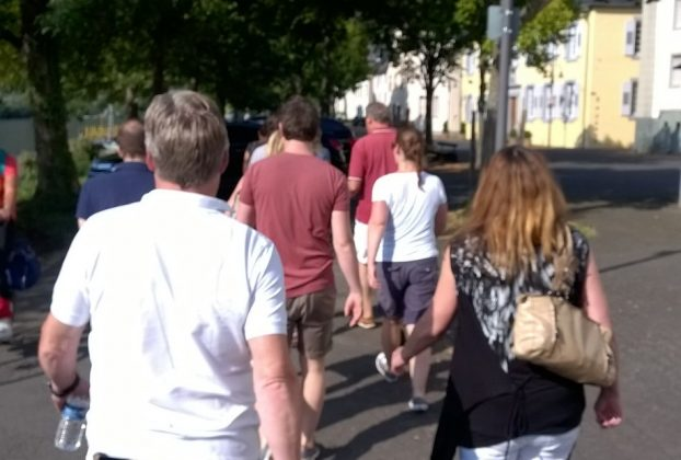 After lunch (the) team walks…